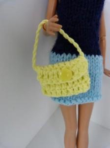 Réf : A096 - Sac jaune bouton jaune pour Barbie ou Pulipp dans Accessoires Poupees 0042-224x300
