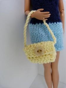 Réf : A093 - Sac jaune bouton jaune pour Barbie ou Pulipp dans Accessoires Poupees 015-224x300