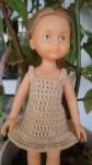 Réf : CC0019 - Robe marron clair pour poupée chéries ou Paola Reina dans Habits pour poupées Chéries 006-84x150