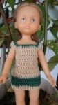 Réf : CC0023 - Robe marron clair et vert foncé pour poupée chéries ou Paola Reina dans Habits pour poupées Chéries 2-couleurs-001-84x150