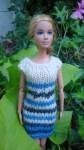 Réf : B0665 - Robe bleue, grise et écrue pour Barbie dans Habits pour Barbie 011-84x150